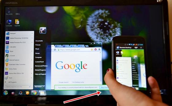 A nyíl mutatja, hogy hol kell kilépni a megosztott képernyő-módból. A PIN-kód beírása  és elmentése után a csatlakozás sem bonyolultabb.