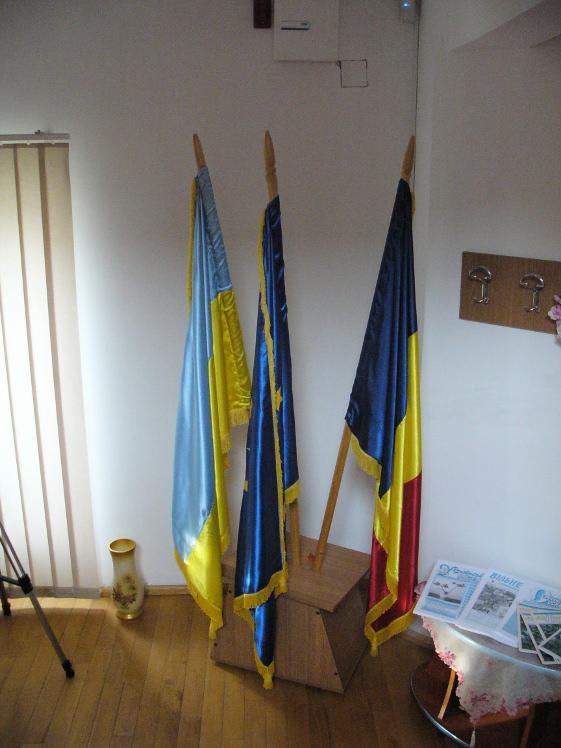 Ukrán zászló a tulceai ukrán központban