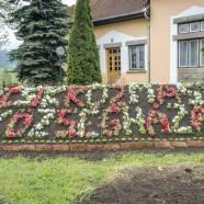 Virágból rakták ki Csíkkozmáson a bírósági ítélet miatt eltávolított Községháza feliratot