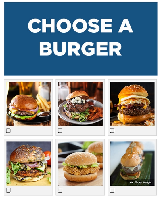 A kezdő feladat: Válassz hamburgert!